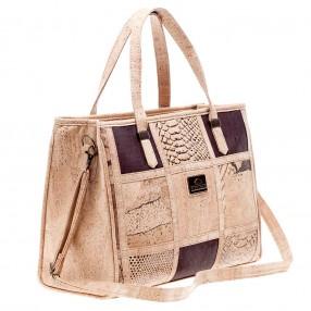 Vegan Handbag in Cork with Patchwork Pattern