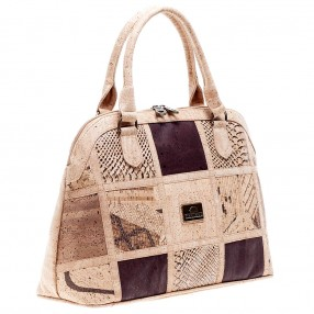Vegan Handbag in Cork with Patchwork Pattern on the Front