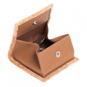 Coin Case with Snap Button and Leather Trims