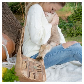 Vegan Cork Crossing Bag with Patchwork Pattern on the Front