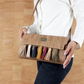 Crossbody Bag Vegan in Cork With Decorative Tassles in Multi Colours