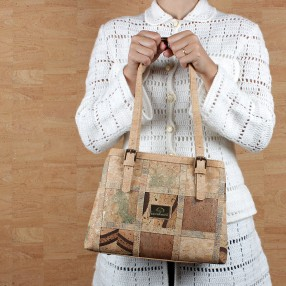 Small Shoulder Bag in Vegan Cork with Two Divisions and Patchwork Pattern on the Front